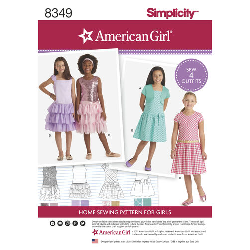 Simplicity Pattern 8349 American Girl Child's Dress and Knit Shrug