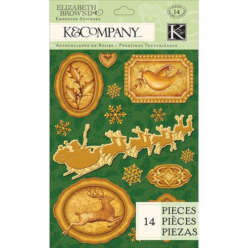 Elizabeth Brownd Visions of Christmas Embossed Foil Stickers_30-646612