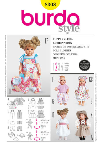 Burda Style Pattern 8308 Doll Clothes
