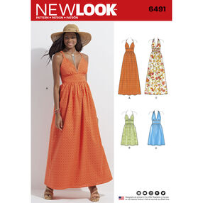 New Look Pattern 6491 Misses' Dresses in Two Lengths with Bodice Variations