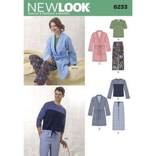 New Look Pattern 6233 Unisex Pants, Robe and Knit Tops
