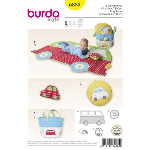 Burda Style Pattern 6885 Creative, Doll Clothes, Accessories