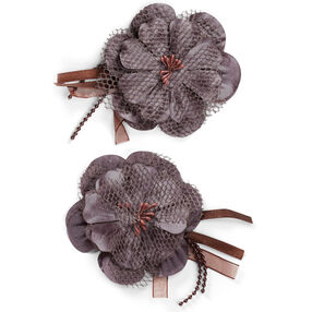 Brown Ribbon Lace Flower Embellishments_50-60362