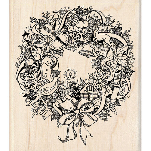Wreath Doodle Wood Stamp_60-00933
