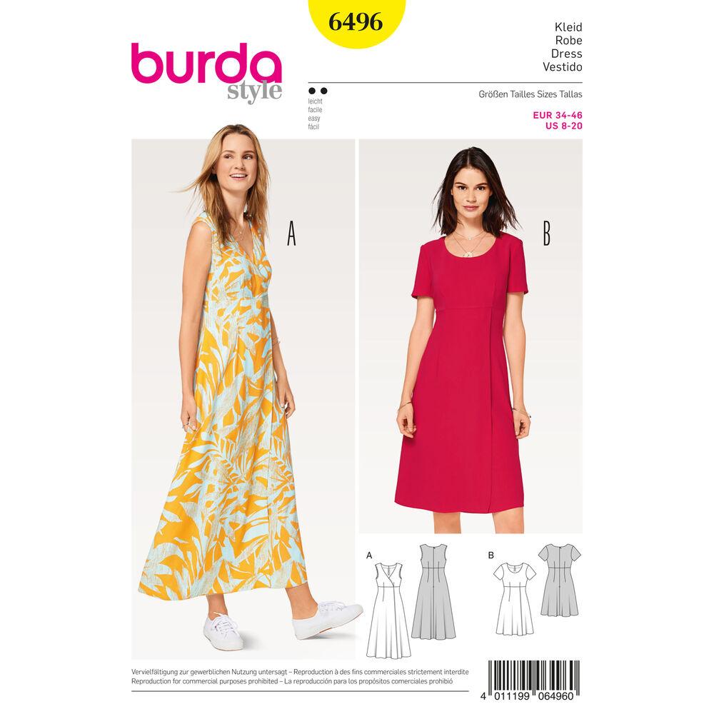 Burda Style Pattern B6496 Misses 39 High Waist Dress