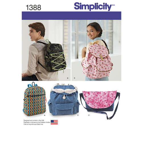 Simplicity Pattern 1388 Backpacks and Messenger Bag