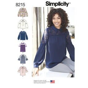 Simplicity Pattern 8215 Misses' Bow or Collared Blouse with Sleeve Variations