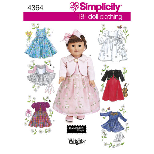 "Simplicity Pattern 4364 18"" Doll Clothes"