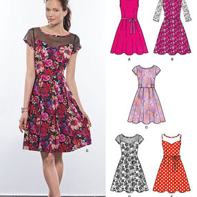 Misses' Dresses with Contrast Fabric Options