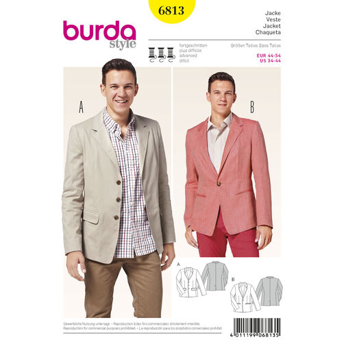 Burda Style Pattern 6813 Menswear, Sportswear