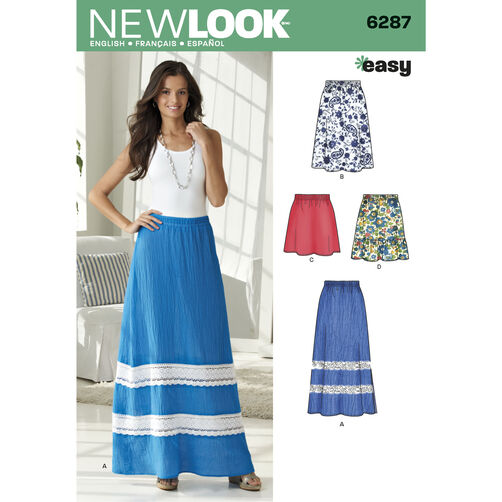 New Look Pattern 6287 Misses' Pull on Skirt in Four Lengths