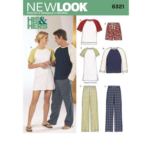 New Look Pattern 6321 Misses', Men's, & Teens' Sleepwear
