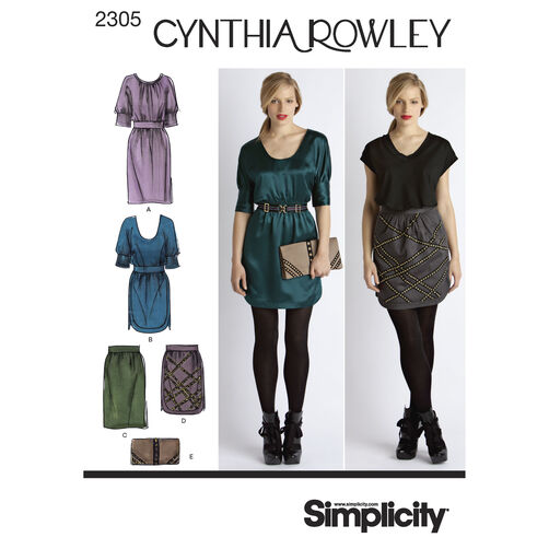 Simplicity Pattern 2305 Misses' Dresses, Skirt & Purse, Cynthia Rowley Collection