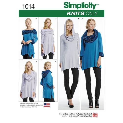 Simplicity Pattern 1014 Misses' Knit Tunics