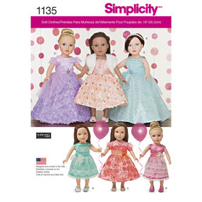 "Simplicity Pattern 1135 Formal Dresses for 18"" Dolls"