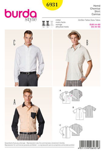 Burda Style Pattern 6931 Menswear