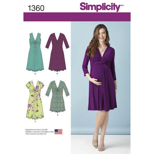 Misses' Maternity Knit Dress or Mini Dress