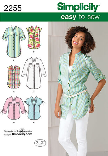 Simplicity Pattern 2255 Misses' Easy to Sew Tunic or Shirt