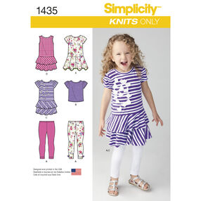 Simplicity Pattern 1435 Child's Knit Dresses, Top and Capri Leggings