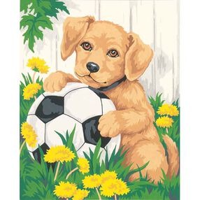 Puppy and Soccer Ball, Paint by Number_91120