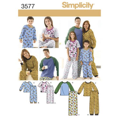 Simplicity Pattern 3577 Child's, Teens' & Adults' Sleepwear