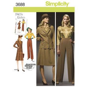 Simplicity Pattern 3688 Misses' & Plus Size 1940s Vintage Sportswear