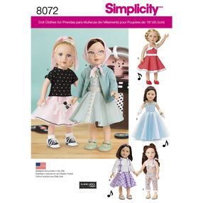 "Simplicity Pattern 8072 Vintage Inspired 18"" Doll Clothes"