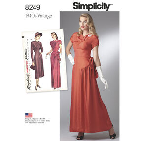 Simplicity Pattern 8249 Misses' Vintage 1940s Gown and Dress