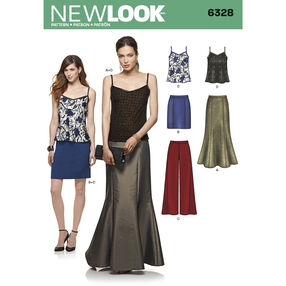 New Look Pattern 6328 Misses' Pants, Skirt in Two Lengths and Camisole