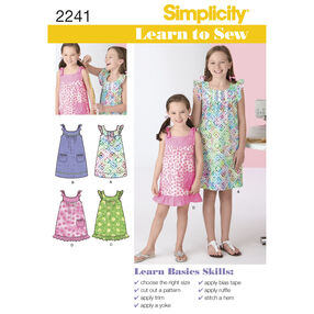 Simplicity Pattern 2241 Learn-to-Sew Child's & Girl's Dresses