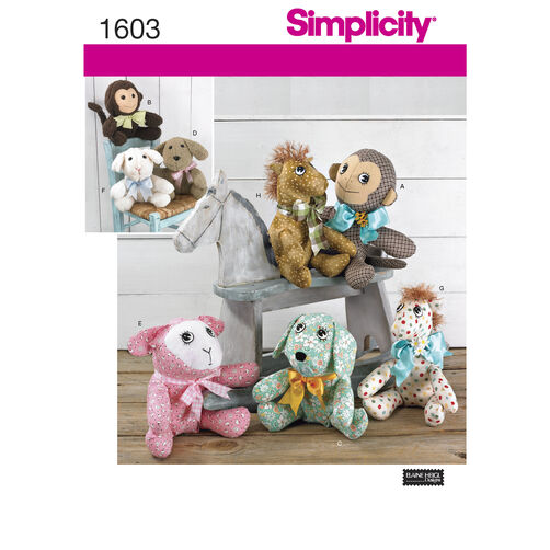 Simplicity Pattern 1603 Two Pattern Piece Animals