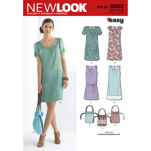 New Look Pattern 6022 Misses' Dresses & Bag