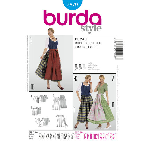 Burda Style Pattern 7870 Dirndl Dress