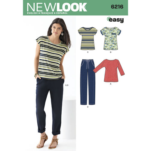 New Look Pattern 6216 Misses' Knit Tops and Pants