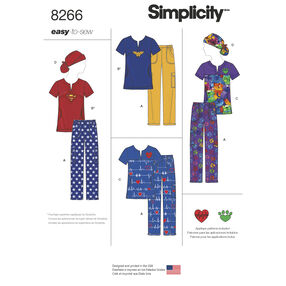 Simplicity Pattern 8266 Misses' Easy to Sew Scrubs with Ponytail Hat