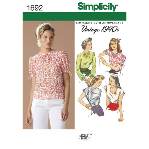 Simplicity Pattern 1692 Misses' 1940s Vintage Tops