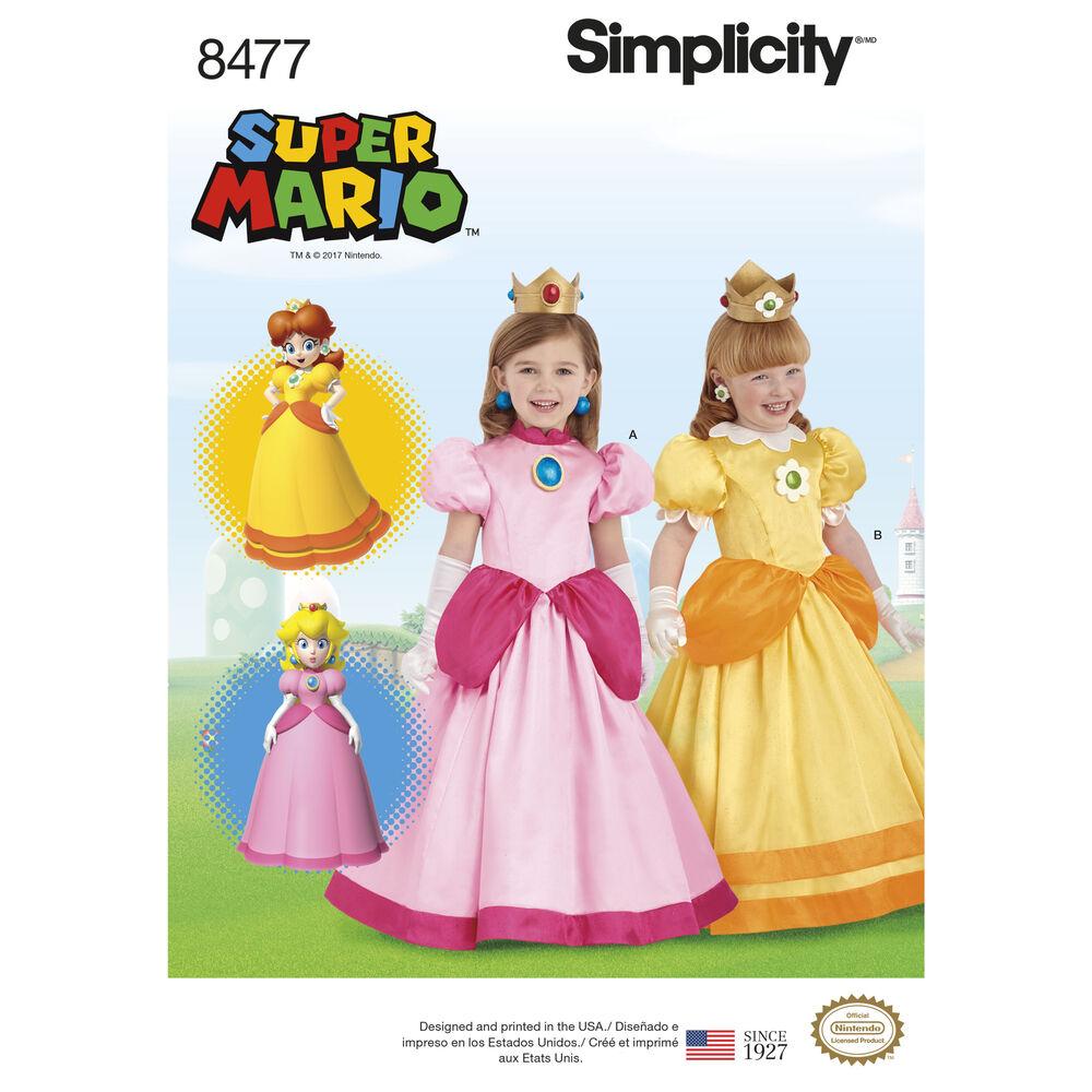 Simplicity Pattern 8477 Child Super Mario Princesses Costumes