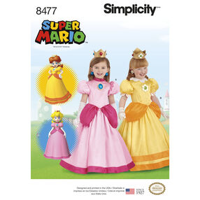 Simplicity Pattern 8477 Child Super Mario Princesses Costumes