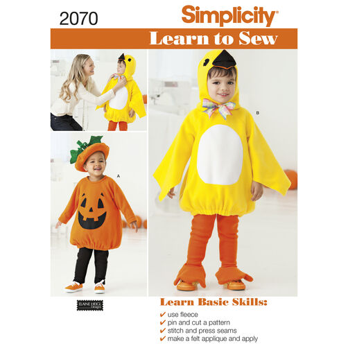 Simplicity Pattern 2070 Learn to Sew Toddler's Costumes
