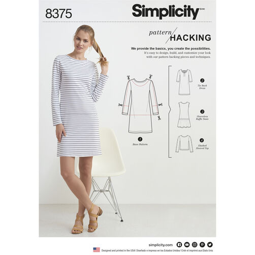 Simplicity Pattern 8375 Misses' Knit Dress or Top with Multiple Pattern Pieces for Design Hacking