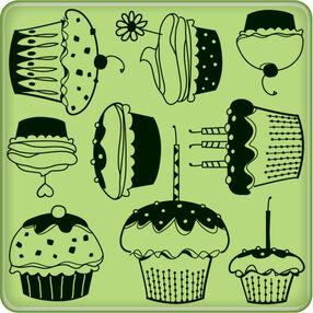 Cupcake Pattern Mini Cling Stamp_60-60236