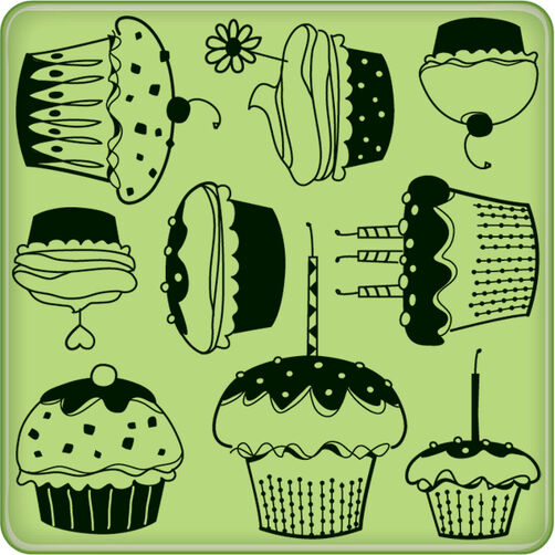 Cupcake Pattern Mini Cling Stamp_60-60236