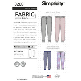 Simplicity Pattern 8268 Child's, Teen's and Adult's Slim Fit Knit Jogger