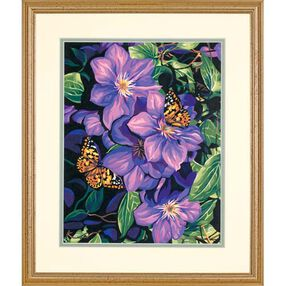 Clematis & Butterflies, Paint by Number_91403