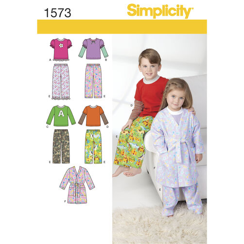 Simplicity Pattern 1573 Toddlers' and Child's Loungewear