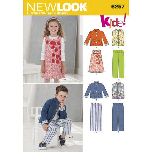 New Look Pattern 6257 Child's Jacket or Vest, Jumper and Pants