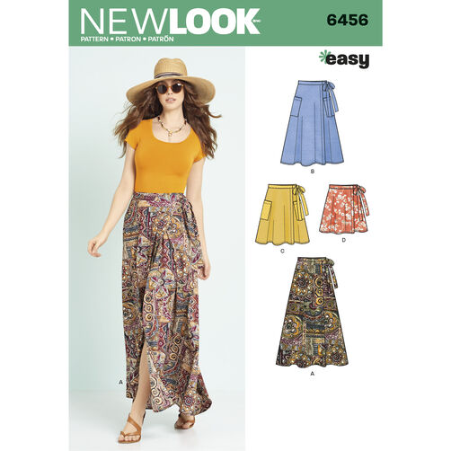 New Look Pattern 6456 Misses' Easy Wrap Skirts in Four Lengths