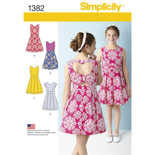 Simplicity Pattern 1382 Girls' & Girls' Plus Dress with Back Variations