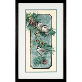 Chickadees on a Branch, Stamped Cross Stitch_03199