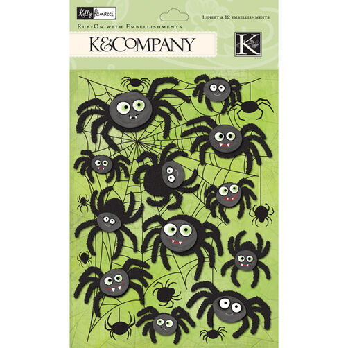 Kelly Panacci Halloween Spider Rub-on with Embellishments_30-622296